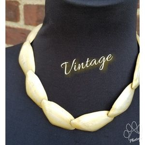 Vintage gold washed shell illusion necklace